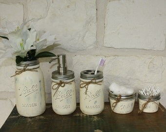 Hand Painted Mason Jar Set - Antique White