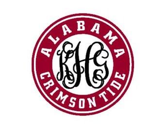 Alabama Crimson Tide inspired monogram instant download cut file - SVG DXF EPS ps studio3 studio (monogram font sold separately)