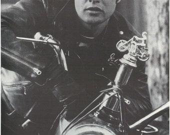 Marlon Brando On Motorcycle Close Up   Rare Poster