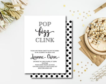 Pop Fizz Clink Printable Invitation, Engagement Invitation, Bachlorette Invitation, , DIY Printable Invitation, DIY, Yellowdotpaper