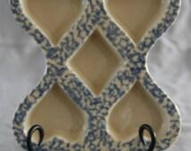 Friendship Art Pottery Heart  & Diamond Muffin Cookie Mold Pan Roseville Blue Spongeware Country Cottage Chic Shabby Vintage Spatterware Ex