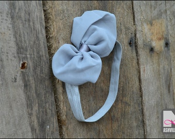 Baby Head Band with Bow ~ Grey