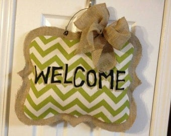 Burlap door hanger -- welcome (ornate)