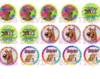 15 Digital Scooby Doo Bottle Cap Images ( Instant Download) Print Your Own