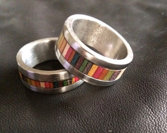 Recycled skateboard stainless ring