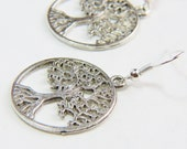 Silver Tree Earrings - Plant Necklace - Nature Necklace - Circle of Life Necklace - Dangle Earrings - Silver Tree Jewelry