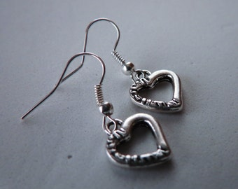 Heart  Earrings, Dangle Earrings, Heart Jewelry, Heart Earring
