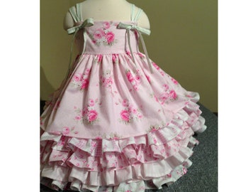 Party Princess dress ( 2 versions) PDF Sewing Pattern and tutorial, Sizes 3-8 girls, instant download