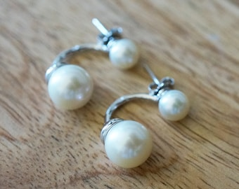 Double Pearl Stud Earrings - Sterling Silver Jewelry, Bridesmaid Gift, Bridal Jewelry, Wedding Jewelry, Pearl Studs