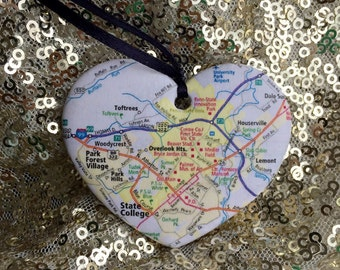 Penn State University Graduation Map Ornament