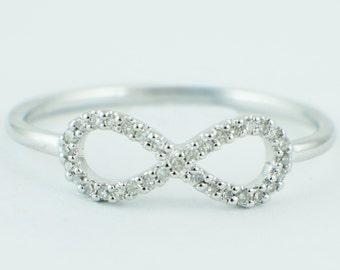 14K White Gold 0.10ct Round Pave Diamond Infinity Band Ring - CUSTOM MADE