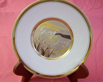 Chokin Art Swimming Swans Decorative Plate 24K Gold Trim Made in Japan