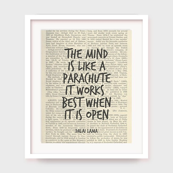 inspirational artwork for office. Inspirational Quote Print, The Mind Is Like A Parachute, It Works Best When  Open, Dalai Lama Quote, Art Decor, Printable Inspirational Artwork For Office