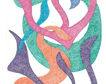 JUDAICA - JEWISH ART  Otiot rokdot 3   (Dancing letters 3 )