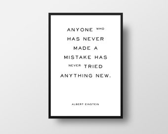 Albert Einstein, Mistake, Tried, Literature Quote, Book Quote Poster, Literary Quote Print, Favourite Books, Library Decor,  Minimalist