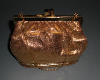 Bag gold leather evening, to 1950's (41)