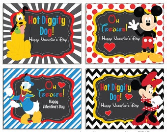 """Printable """"Mickey Mouse"""" Valentine Cards for Kids - Instant Download"""
