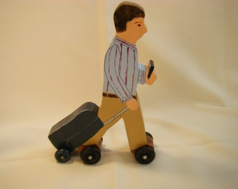 Traveling Man Decoration, Man On the Go, Wood Figurine, Busy Dad, Busy Man, Traveling Man