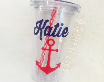 Personalized Tumbler with Anchor // Nautical // Personalized // Acrylic Tumbler // 16oz. // Lid and Straw