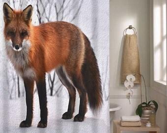 Shower Curtain Oil Painted Fox Winter Bathroom Decor