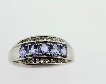 925 Tanzanite / White Topaz Ring ( 1.00 cts)