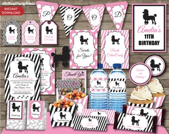 PDF format-INSTANT DOWNLOAD- Poodle Pink Party Pack- Complete party pack printable-Personal Use Only