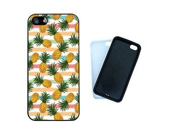 Pineapple Rubber bumper case, iPhone 7, 6, 6S, 6 Plus, SE, 5C, 5S, 4S Samsung Galaxy S7, S6, S6 Edge, S5, S4, cool fruit phone cover. R122