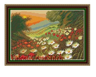Landscape Cross Stitch Pattern, Flowers,camomile,PDF counted cross stitch pattern