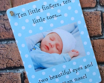 Handmade Wooden Shabby Chic Personalised New Baby Gift Keepsake Plaque Birth Details Present Ten little fingers saying