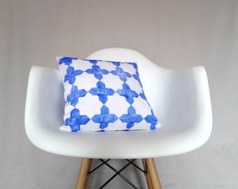 White Linen Pillow Cover Blue Moroccan Block Printed Natural Organic Decorative Throw Double Sided Bedding Accent Pillow Cushion Neutral