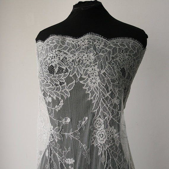 Silver bridal lace fabric metallic french lace solstiss for French lace fabric for wedding dresses