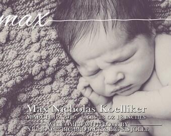 Custom Baby Announcement PRINTABLE