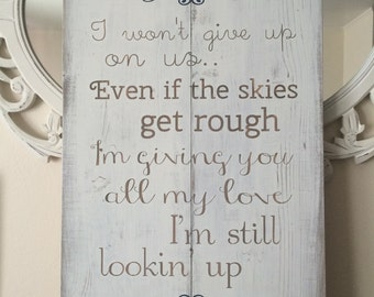 Wedding song lyric wood sign. Bride and groom names personalized sign