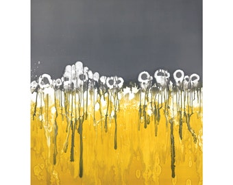 Gray and yellow modern art print, abstract monotype print, modern flower print  8 x 10  - available in different sizes