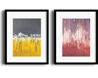 Modern abstract art series, large colorful abstract art prints, abstract wall decor, set of 2, 12 x 18 - available in different sizes