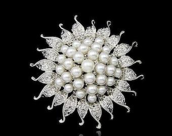 Pearl Brooch, Wedding Pin, Wedding Brooch, Sun brooch, Beautiful Brooch, Star Brooch,Flower Brooch, Unique Brooch, Metal and Pearl, Silver