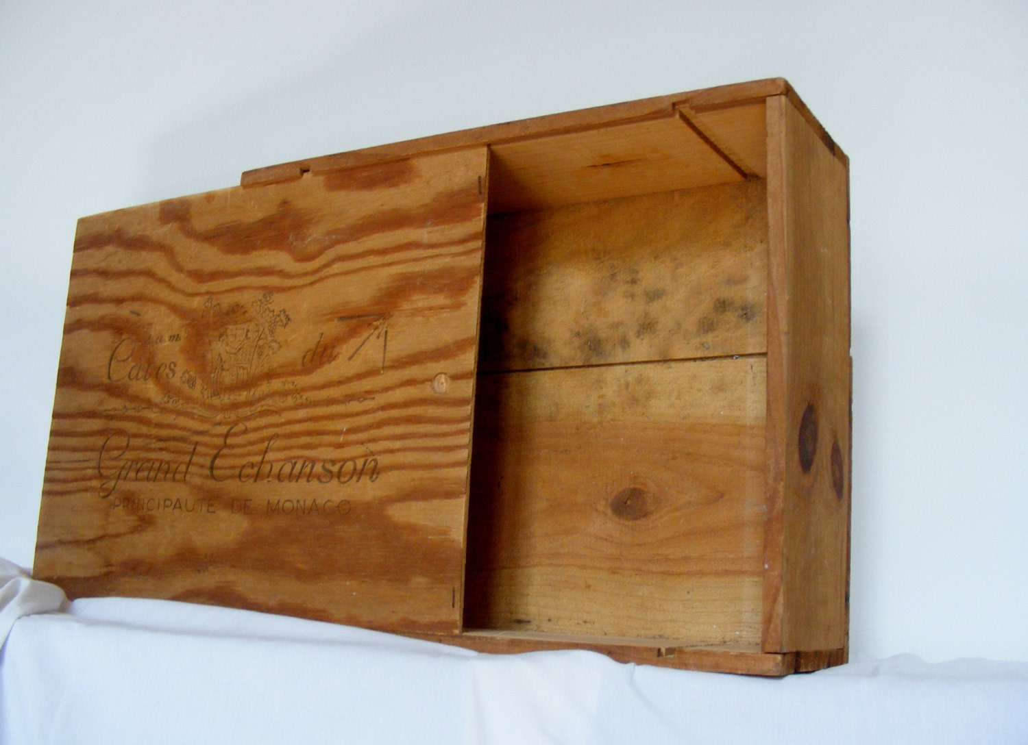 Vintage solid wood wine crate from monaco wine dealer for Where can i find old wine crates