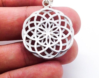 """Two Layer Seed of life Pendant - Sterling silver 925. size 1.0"""" flower of life sacred geometry"""