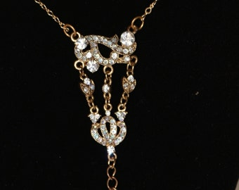 Handmade VCLM Victorian Edwardian Clear Crystal Necklace