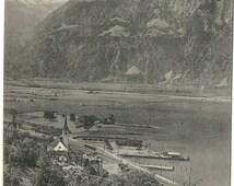 Fluelen mit dem Gitschen - Lake Lucerne, Switzerland - Antique Unused Postcard, ca. 1900 #4900