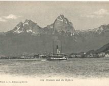 Brunnen und die Mythen - Lake Lucerne, Switzerland, Antique Vintage Unused Postcard, ca.1910 #1604