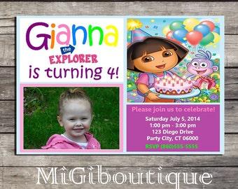 Dora Printable Personalized Birthday Invitation
