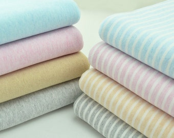 Cotton elastic grinding wool knitted fabric,stripe fabric , Cotton knitted fabric , baby cloth / slobber towel / children cloth--1/2 yard