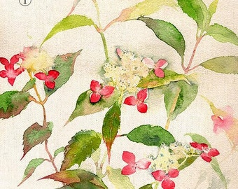"Flowers and plants hand-painted Cotton Linen Fabric, Hand Printed Fabric -fabric for  Pillow /bags / Cushion/mouse pad 8""x 12"" (20cm X 30cm)"