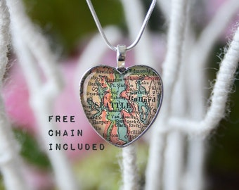 Seattle Washington heart shape vintage map necklace. Location gift pendant. Free matching chain is included.