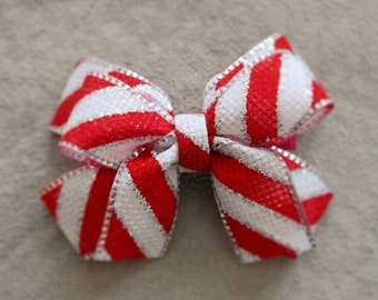 Holiday Candy Cane Hair Bow Clip