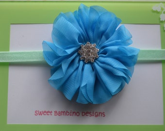 Baby Headband - Aqua Chiffon Flower Headband, Newborn Photo Prop, Infant Headbands