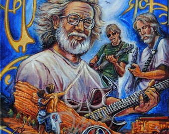 """Jerry Garcia / Grateful Dead Print is a replica of Art By Dano's original painting """"Ode to Jerry"""""""