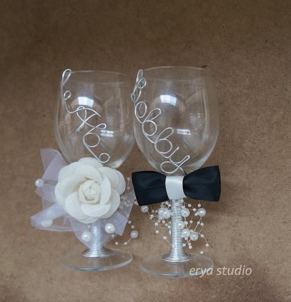 Custom Wedding Wine Glasses : Personalized Wedding Glasses, Custom Wedding Wine Glasses, Name Wired ...