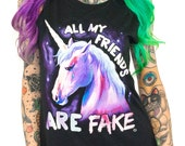 All My Friends Are Fake (GT4797-309BLK) Women's Muscle Tank. Unicorns, fantasy, real friends, women's unicorn tank, magical, fake friends.